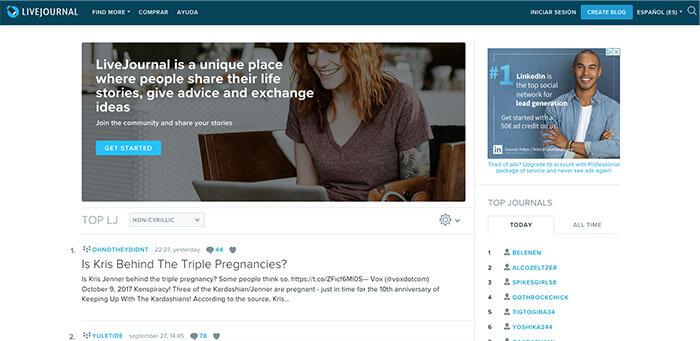 plataformas de blogs gratuitas Livejournal