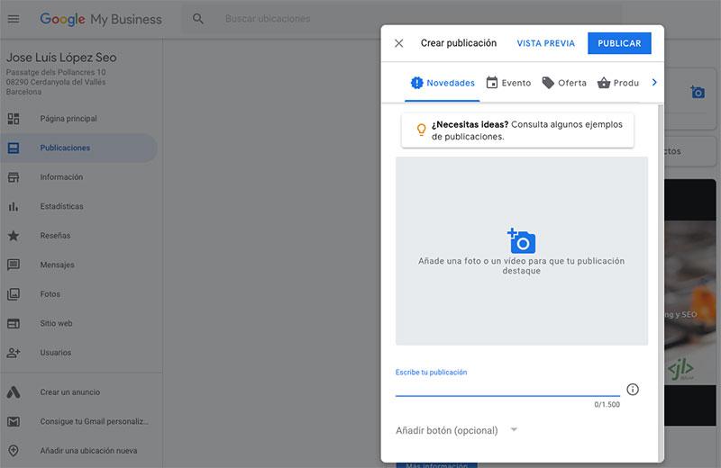 Cómo crear una publicación en Google My Business