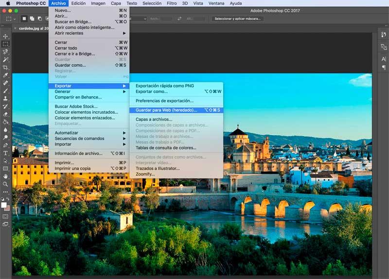 imágenes optimizadas para web en Photoshop