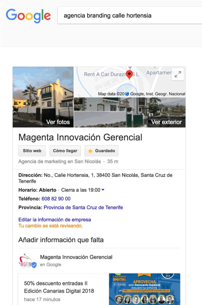 Google My Business actualizado para optimizar la búsqueda por voz