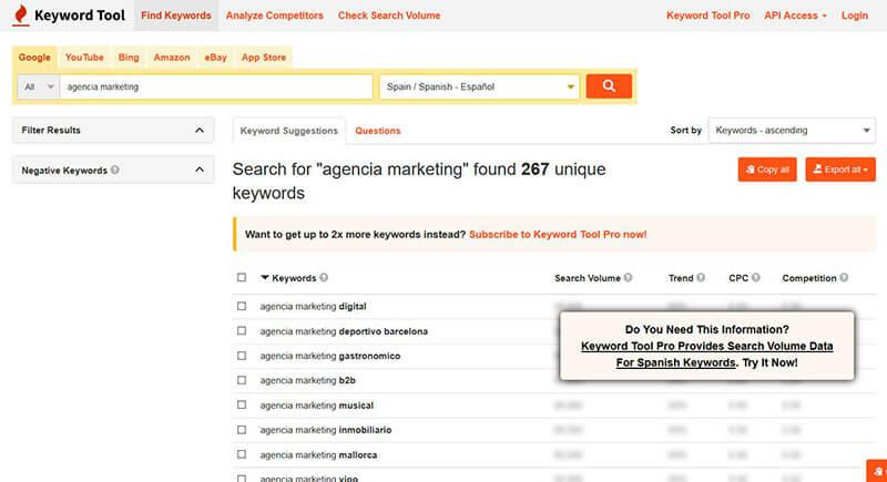 keyword-tool-io Keyword Tool (Herramienta de palabras clave)