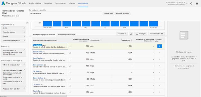 Herramientas para keyword research: Planificador de palabras clave de Google AdWords