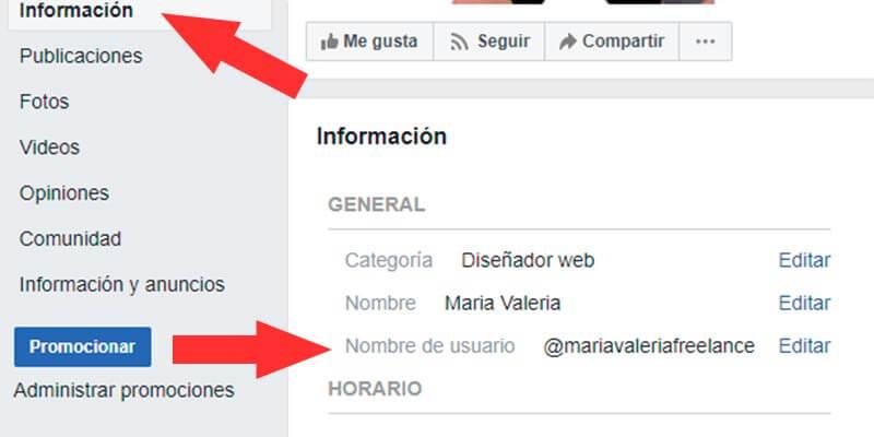 cambiar el nombre a una página de Facebook