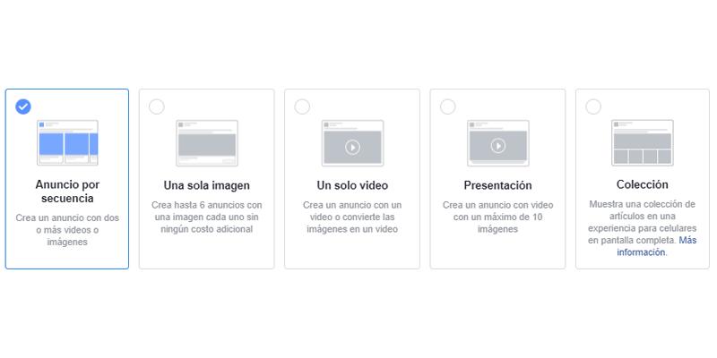 Guía Facebook Ads formatos de anuncios