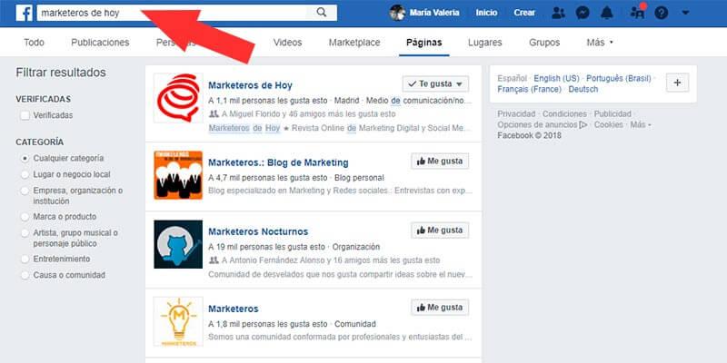 paginas facebook: Nombre de Página y Nombre de usuario