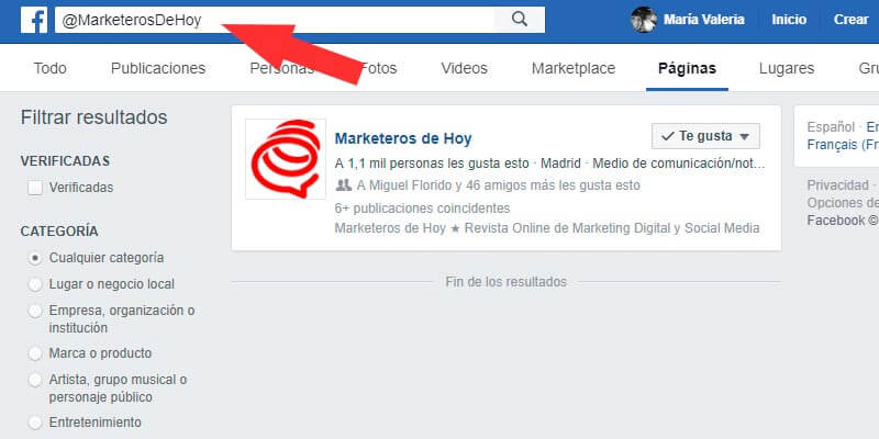 paginas facebook nombre usuario