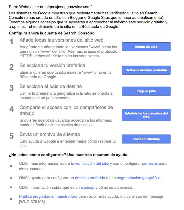 mantenimiento WordPress Google Search Console