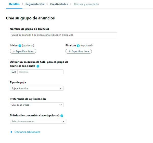 Guia Twitter Ads :Configura tu campaña y grupo de anuncios