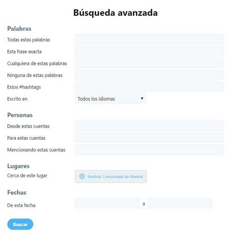 búsqueda avanzada de Twitter :opciones