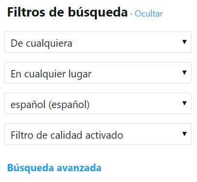búsqueda avanzada de Twitter : filtros