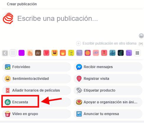 facebook crear encuesta