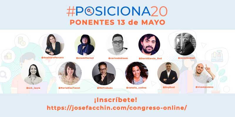 #posiciona20 ponentes 13 de mayo 2020