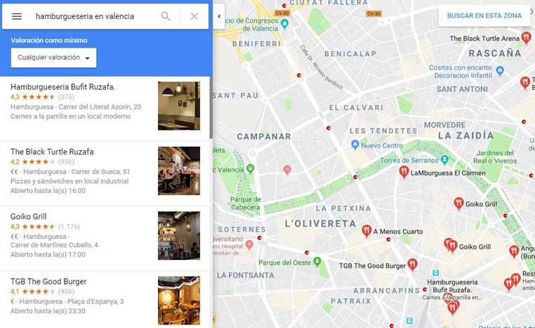 reseñas de Google En los resultados de Google Maps