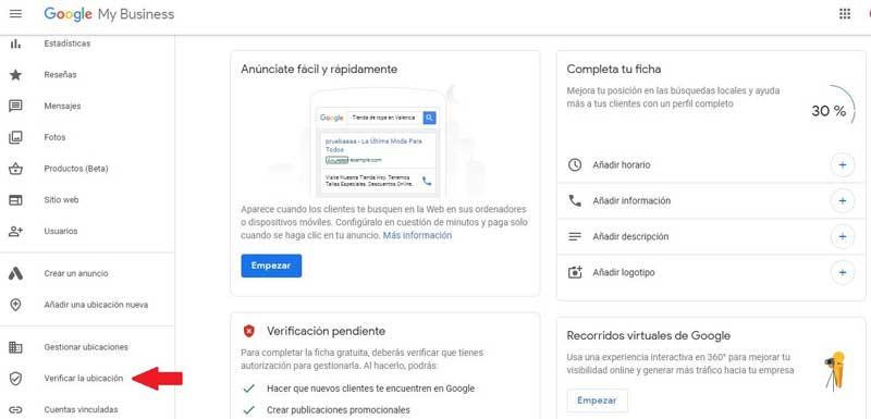Reseñas Google: verifica tu cuenta