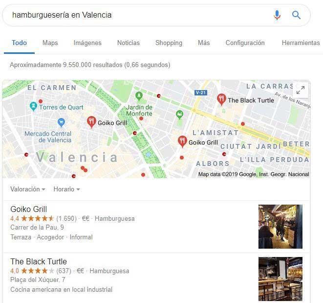 reseñas de Google en los resultados de búsqueda de Google
