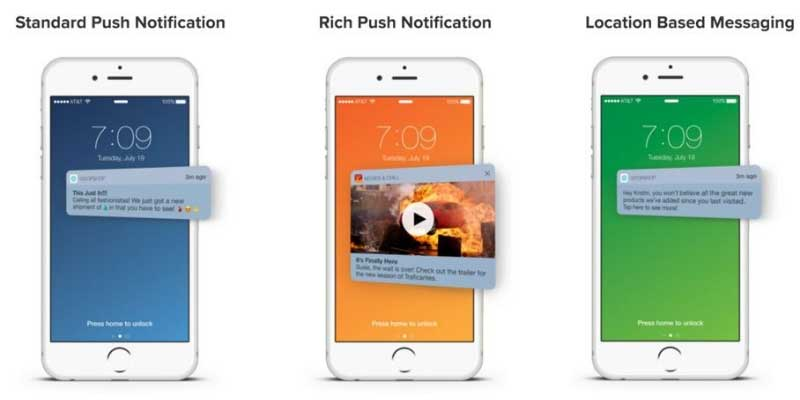 Formatos de las push notifications