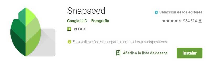 Herramientas para instagram de edición de imagen: snappsed