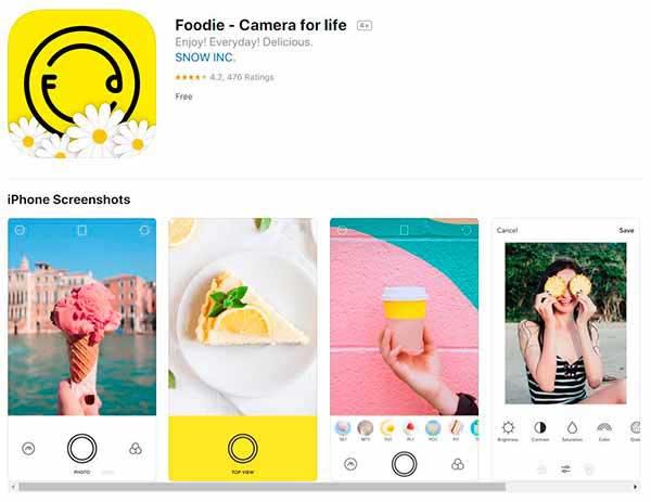Editor de fotos foodie
