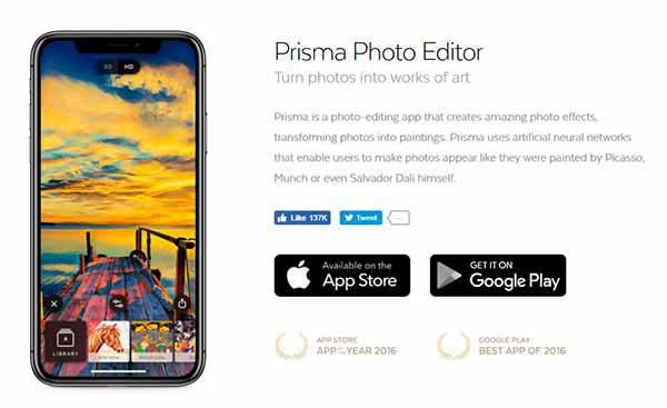 Editor de fotos prisma