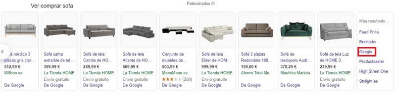 Google Shopping resultados del menu: imagenes