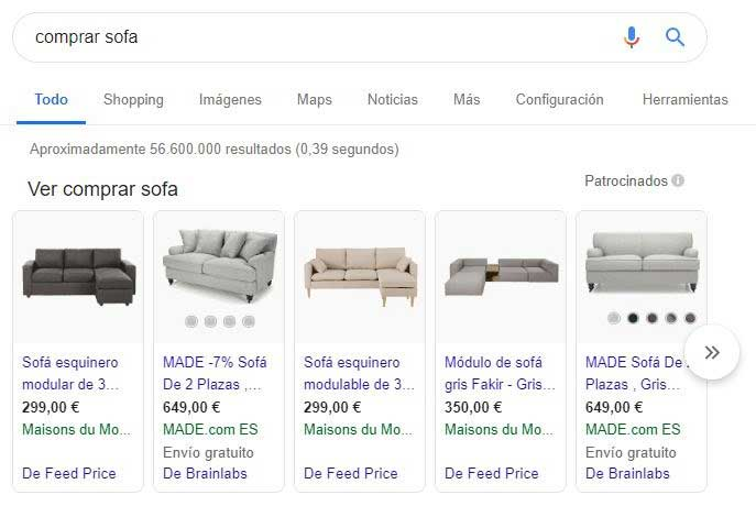 Google Shopping resultados