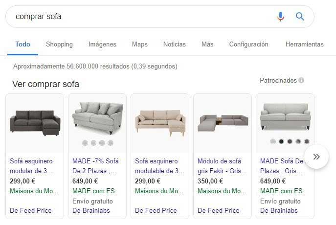 Google Shopping resultados