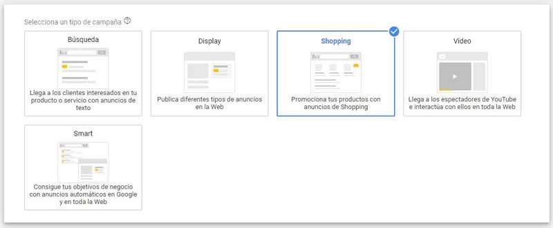 Google-shoppong-designa el tipo de campaña como Shopping