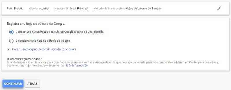 Google shopping subir hojas de cálculo de Google