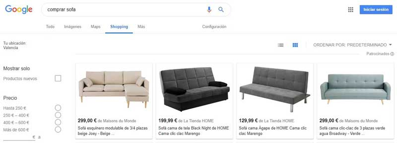 resultados google shopping