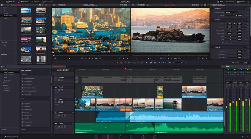 editor de vídeos davinci-resolve