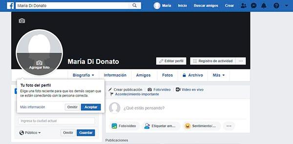 facebook agregar foto perfil