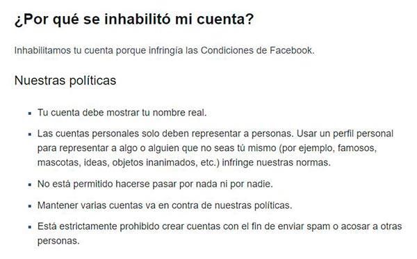 facebook Inhabilitación de Cuenta