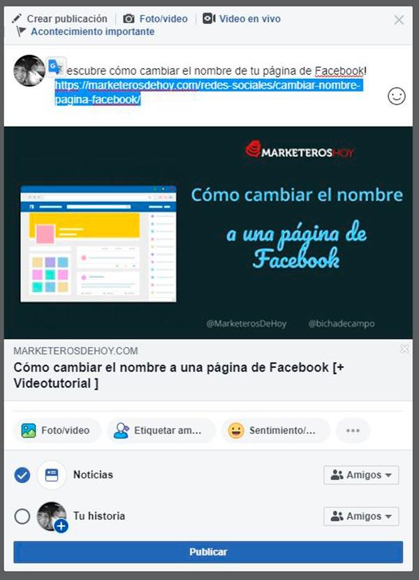 facebook publicar desde una URL
