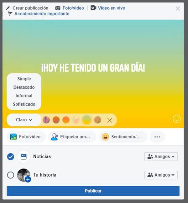facebook publicar Texto simple con fondo
