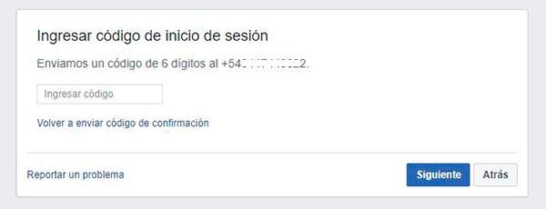 facebook seguridad telefono codigo