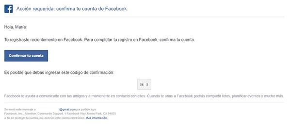 faceboook codigo confirmacion