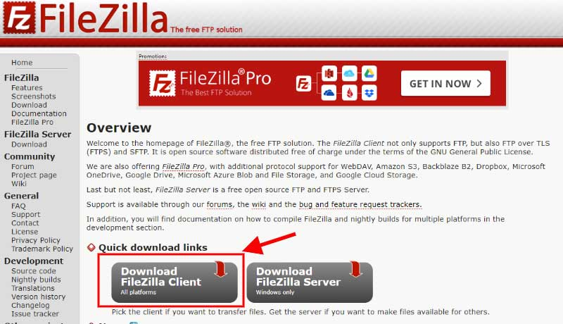 cliente FTP Filezilla