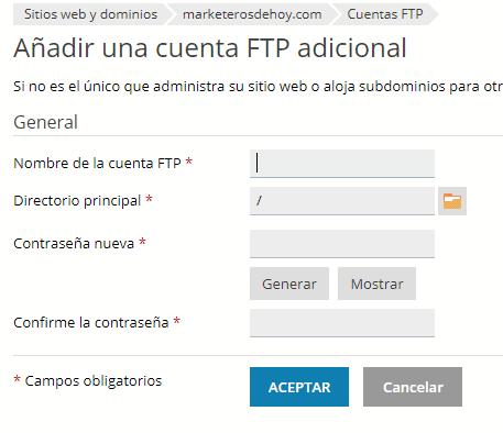 ftp server : crear cuenta