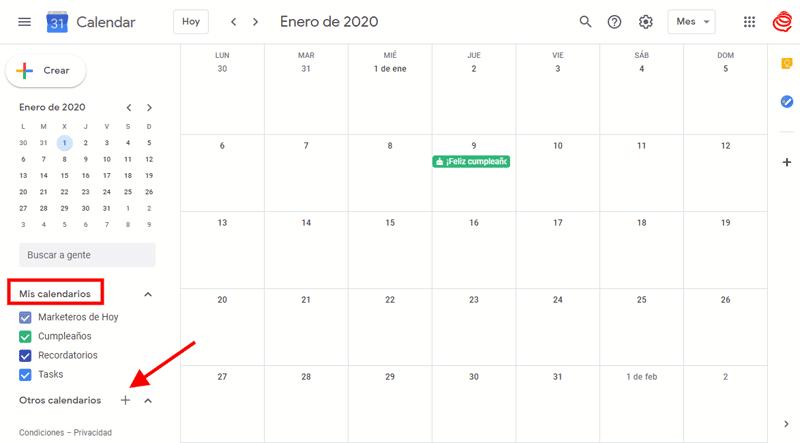 Google Calendar: crear calendarios