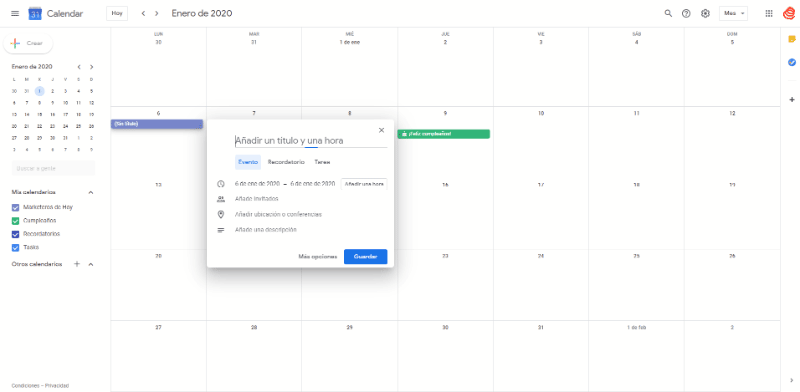 Google Calendar: como crear recordatorios