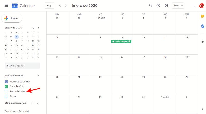 Google Calendar: recordatorios