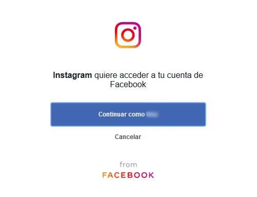 INSTAGRAM Iniciar sesión desde Facebook