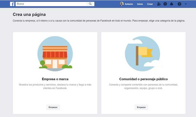 Facebook empresas opciones para crear fanpage