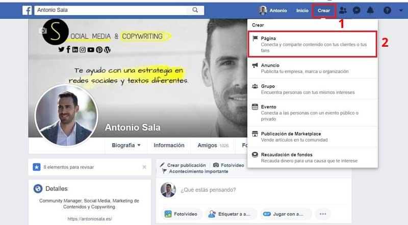 Facebook para empresas : crear pagina