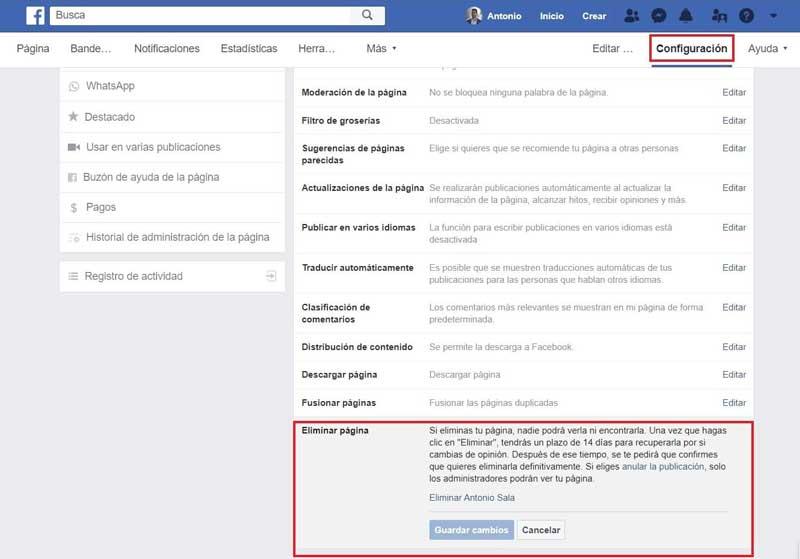 Facebook empresas eliminar pagina