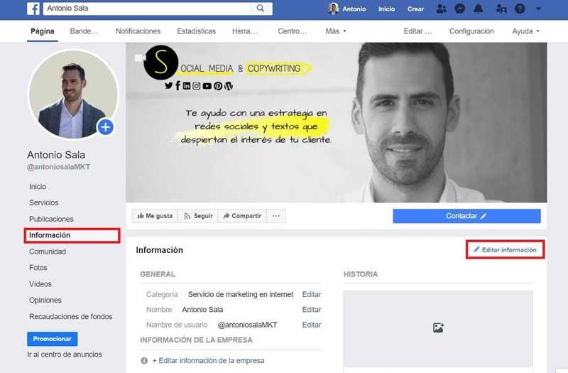 Facebook empresas informacion de pagina