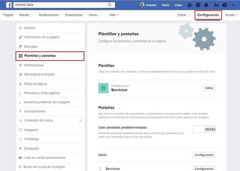 Facebook empresas: configurar pestañas