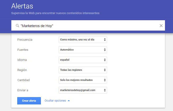 Crear alertas Google : Configurar opciones especializadas