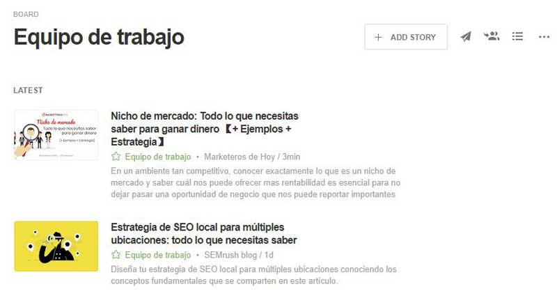 tablero feedly